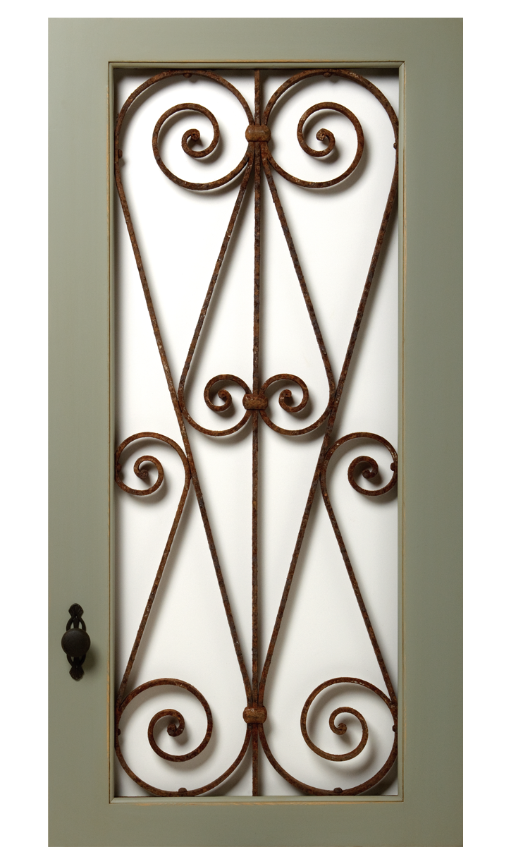Transparent doors fancy. Vintage with wrought iron