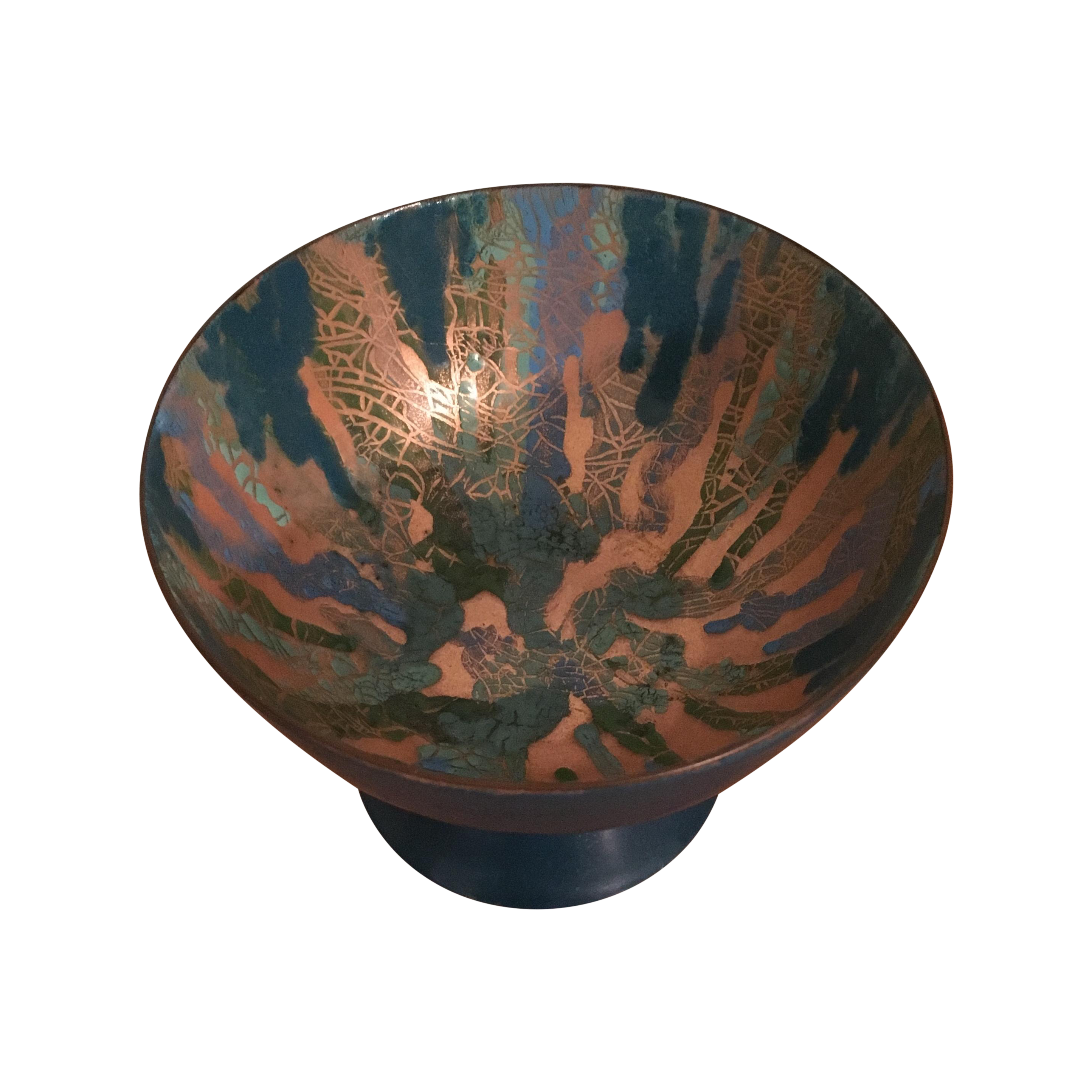 Transparent enamel copper. Mid century footed bowl