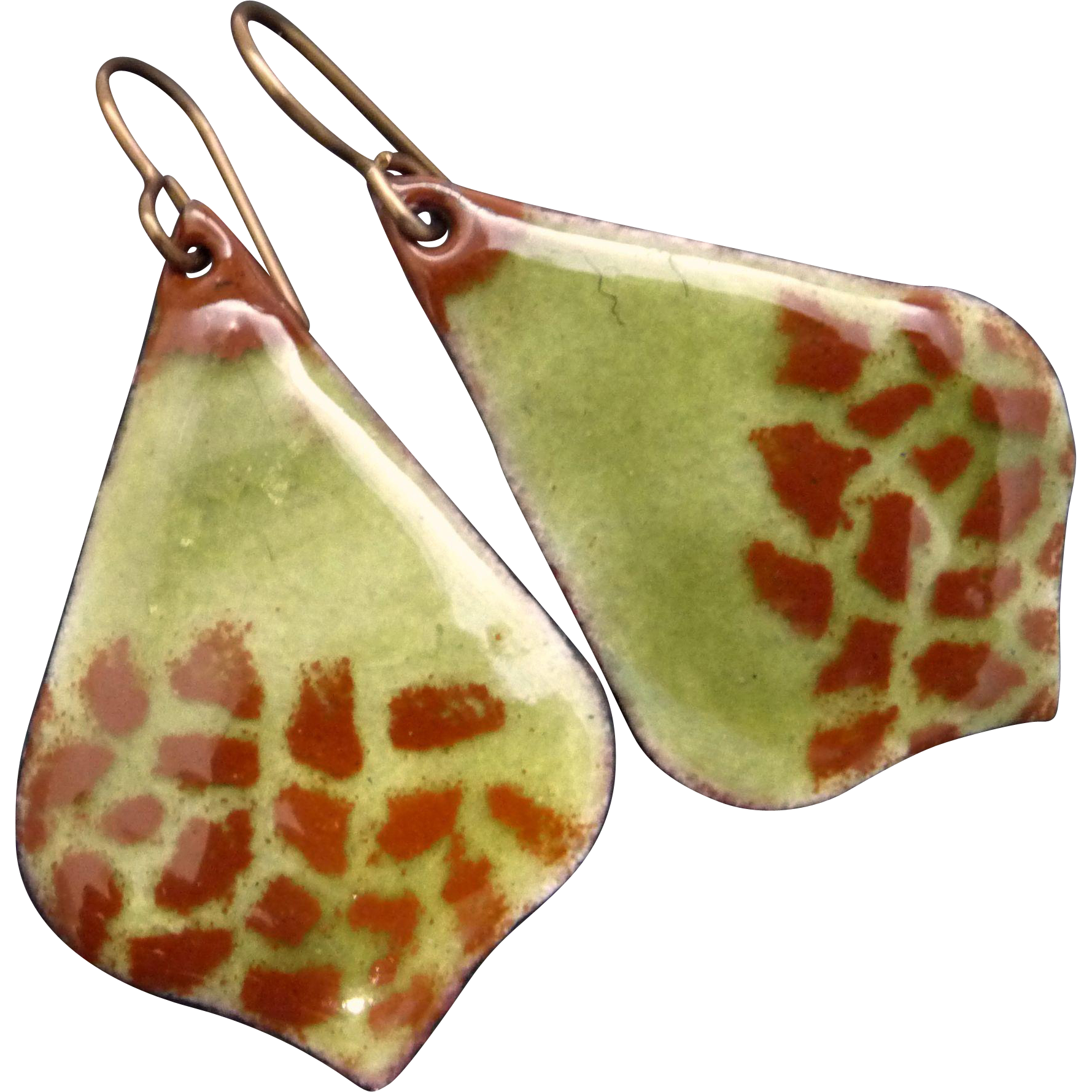 Transparent enamel torch fired. Olive and brown earrings