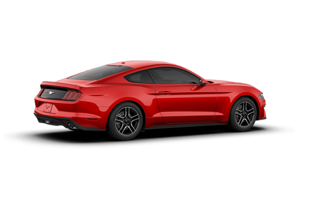 Transparent engine red car. Ford mustang ecoboost