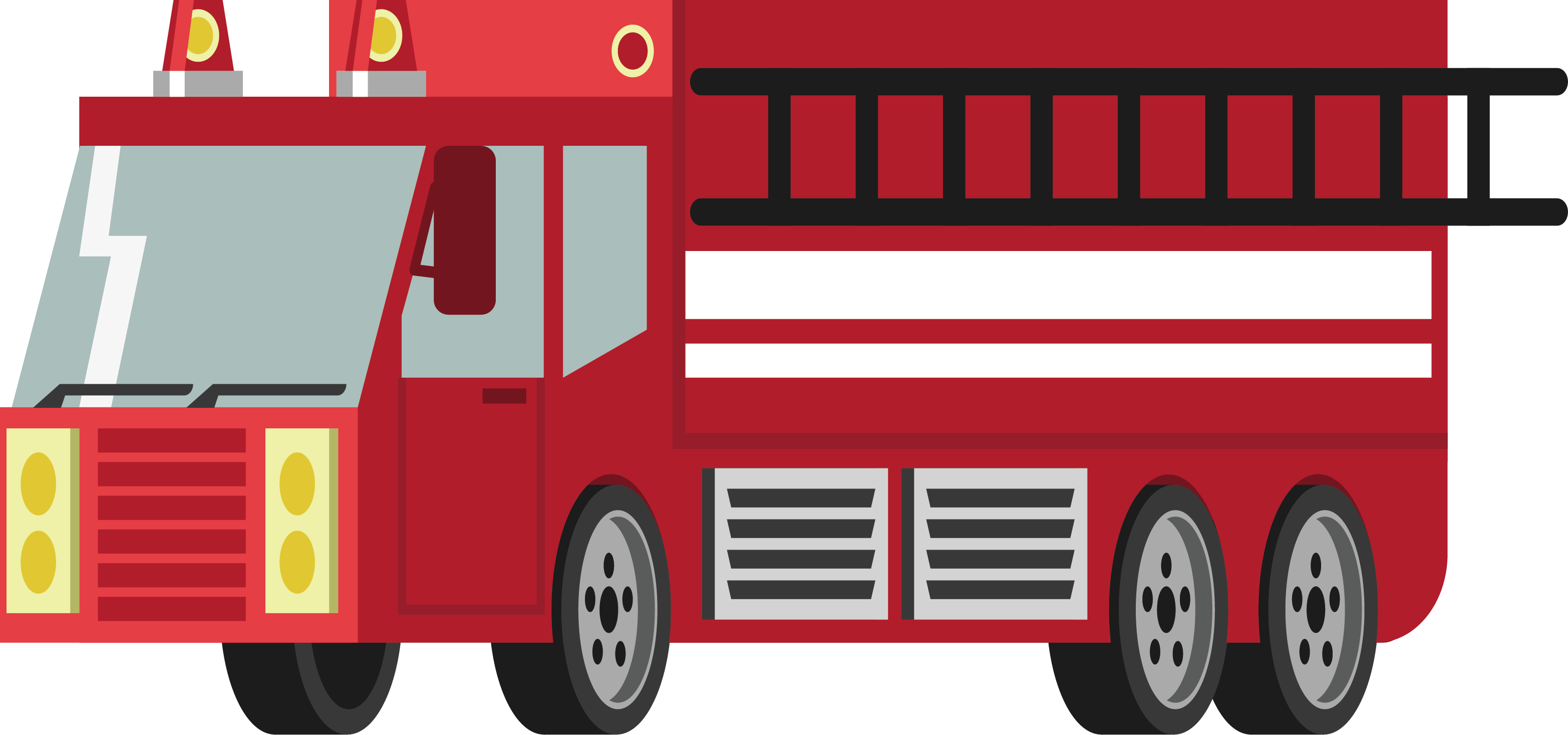 Transparent engine red car. Fire conflagration icon truck