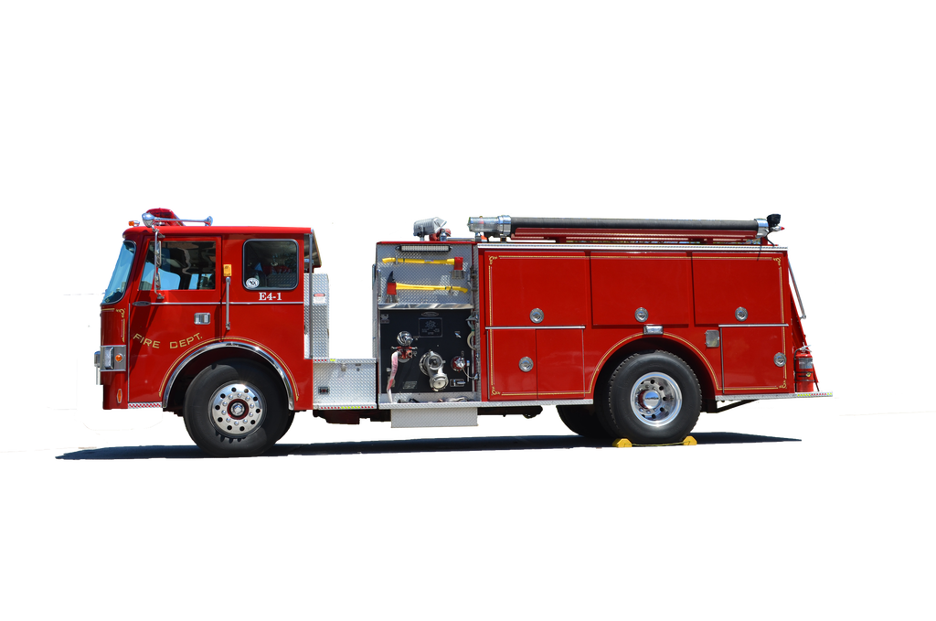 Transparent engine truck. Fire side view png