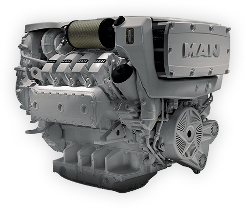 Transparent engine v12. Commercial marine diesel man
