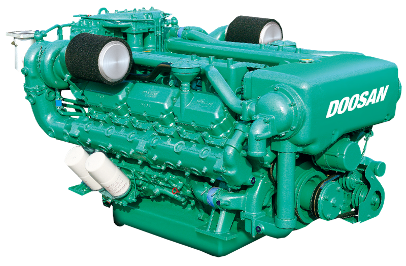 Transparent engine v12. Doosan marine diesel v