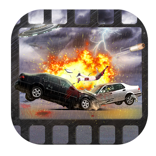 Transparent explosions car. Movie special effects editor