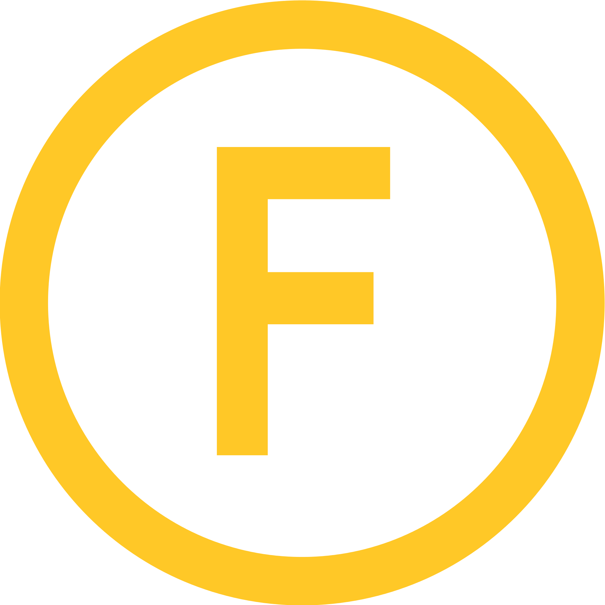 Transparent f yellow. Orange circle logo ligne