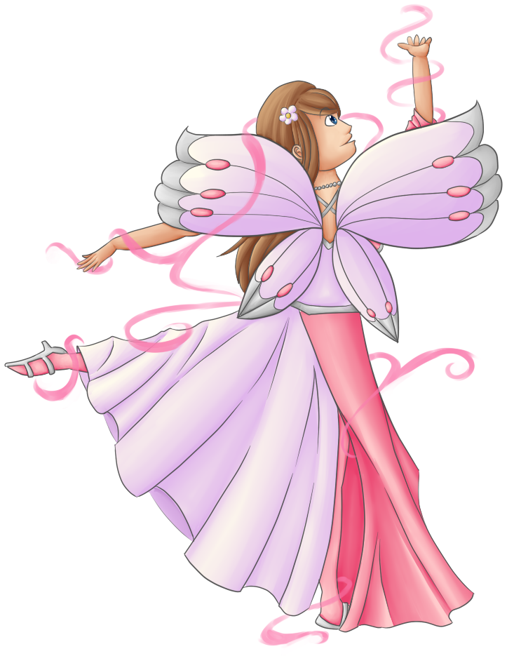 Transparent fairy dancing. Queen by eagle elf
