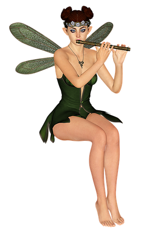 Transparent fairy fae. Fee elf flute wing