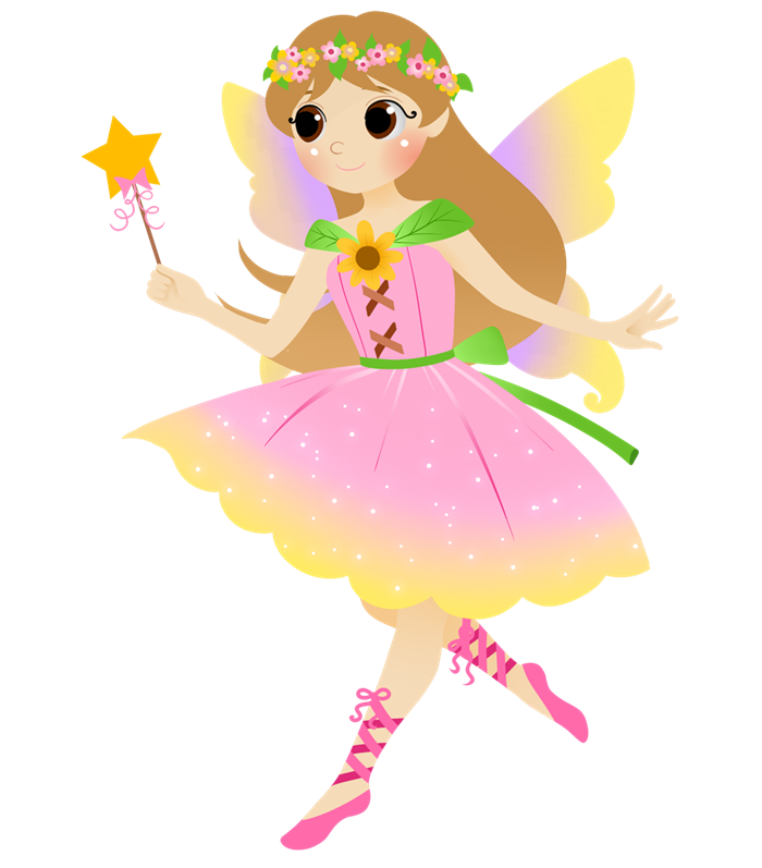 Transparent fairy kid. Collection of clipart