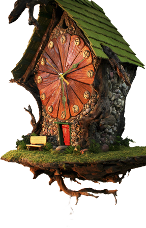 Transparent fairy woodland. Each house from the