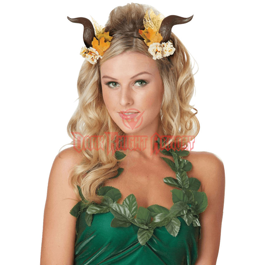 Transparent fairy woodland. Costume horns cal from