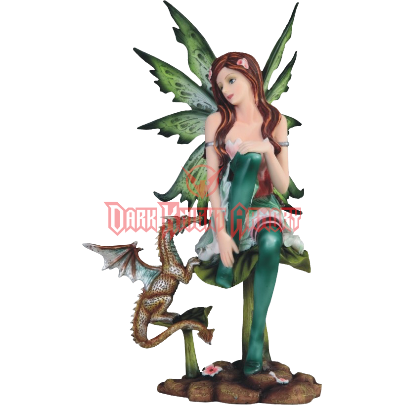 Transparent fairy woodland. With dragon statue from