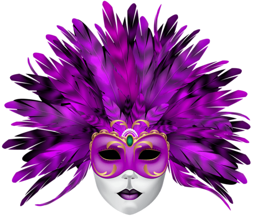 Transparent masks feather. Carnival mask purple png