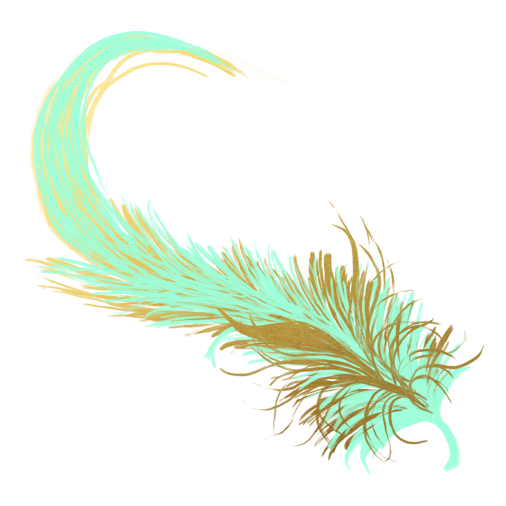 Transparent feathers pastel. Feather golden gold teal