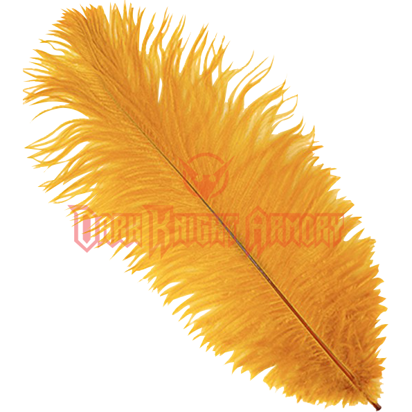 Transparent feathers wispy. Marigold ostrich feather plume