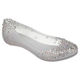 Transparent flats glass slipper. The search for perfect