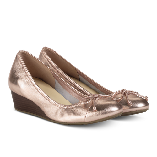 Transparent flats gold. Rose wedge ballet totally