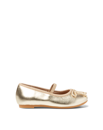 Transparent flats gold. Girls shoes in sizes