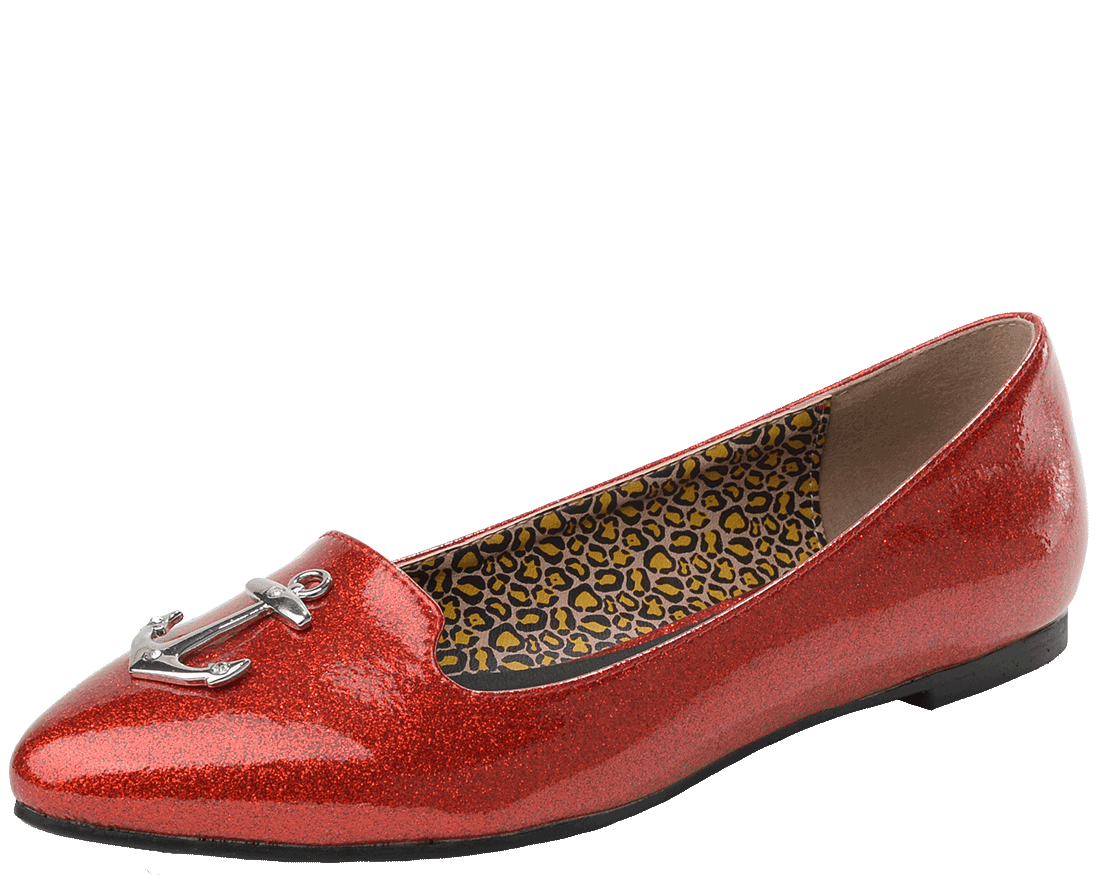 Transparent flats pointed toe. Red sparkle anchor patent