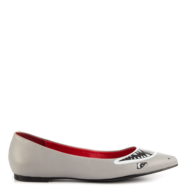 Transparent flats pointed toe. Grey cute shark pointy