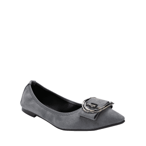 Transparent flats pointed toe. Gray with buckled embellished