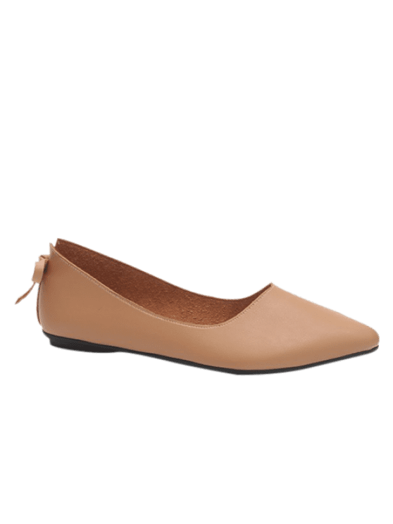 Transparent flats pointed toe. Camel brown spring fall
