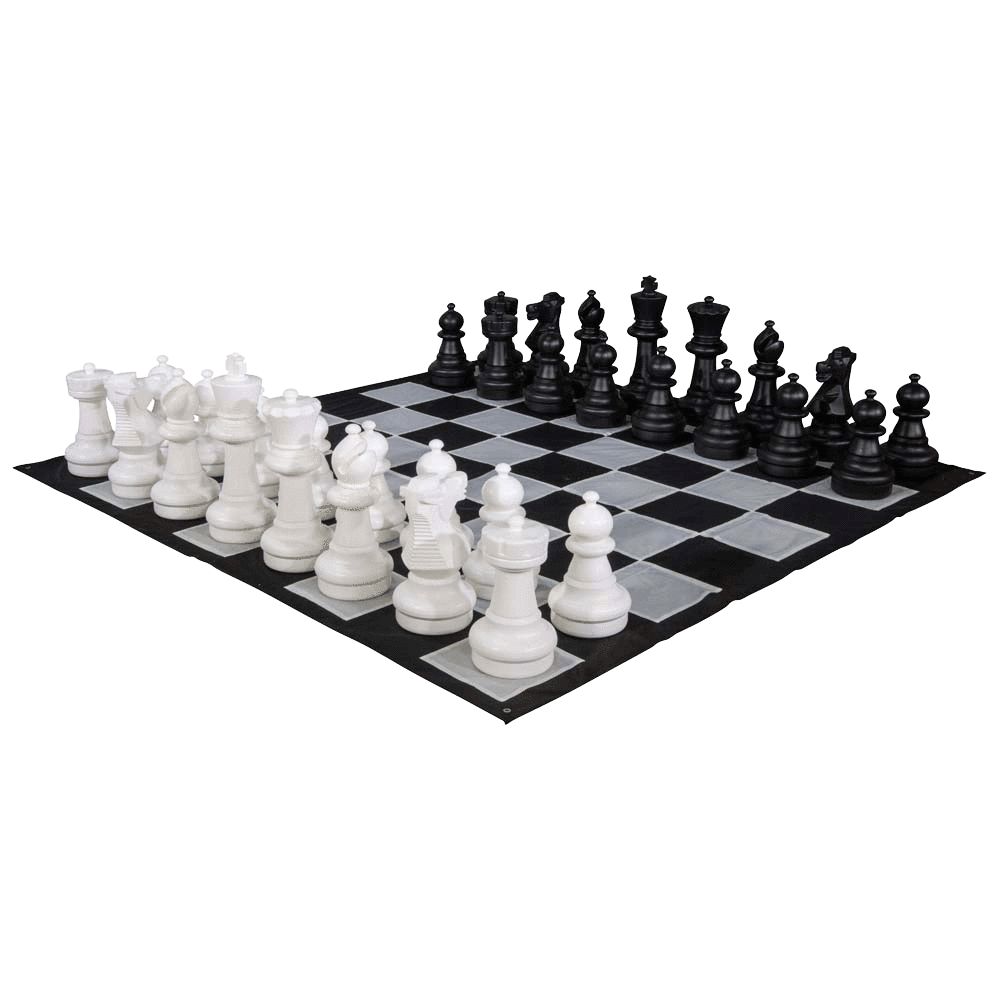 Transparent floor chess. Plastic set with king