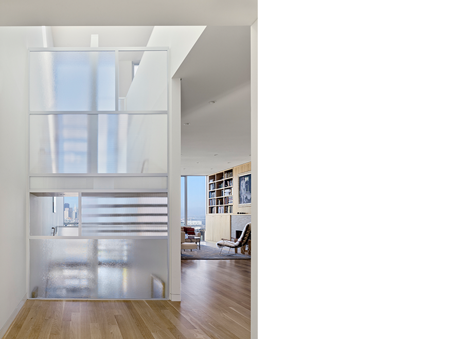 Transparent floor frosted glass. White floating stairway interior