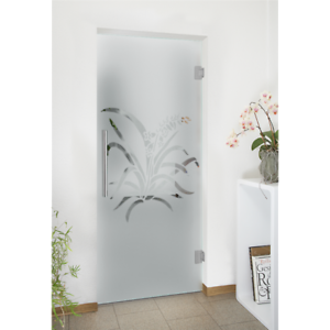 Transparent floor frosted glass. Elegant interior swinging door