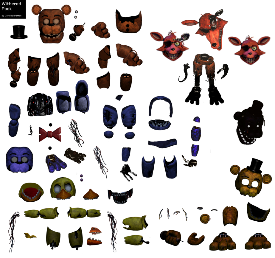 Transparent fnaf resource pack. Withered animatronic by dahooplerzman