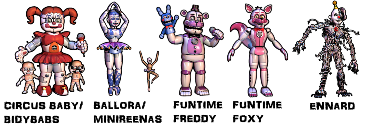 Transparent fnaf sister location. Pack by zacmariozero on