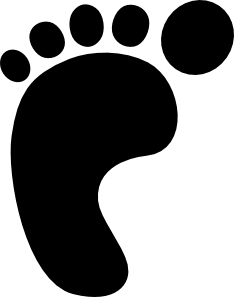 Vector footprints silhouette. Left foot print clip