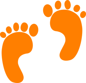 Footprints drawing in sand. Baby orange clipart