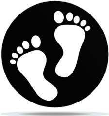 Transparent foot white baby. Gobo feet machine artist