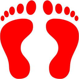 Transparent footprints line. Red human icon free