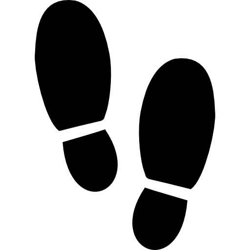 Transparent footprints icon. Footsteps silhouette variant icons