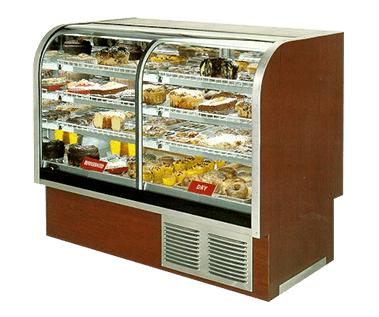 Transparent fridge bakery. Curved glass case refrigerated