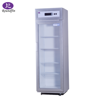 Transparent fridge cool. Low temperature medical cold