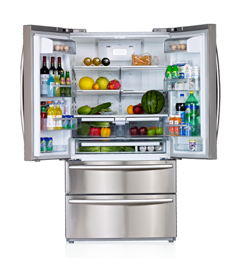 Transparent fridge full. Picture royalty free