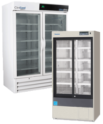 Transparent refrigerator clear door. Labrepco double glass vaccine