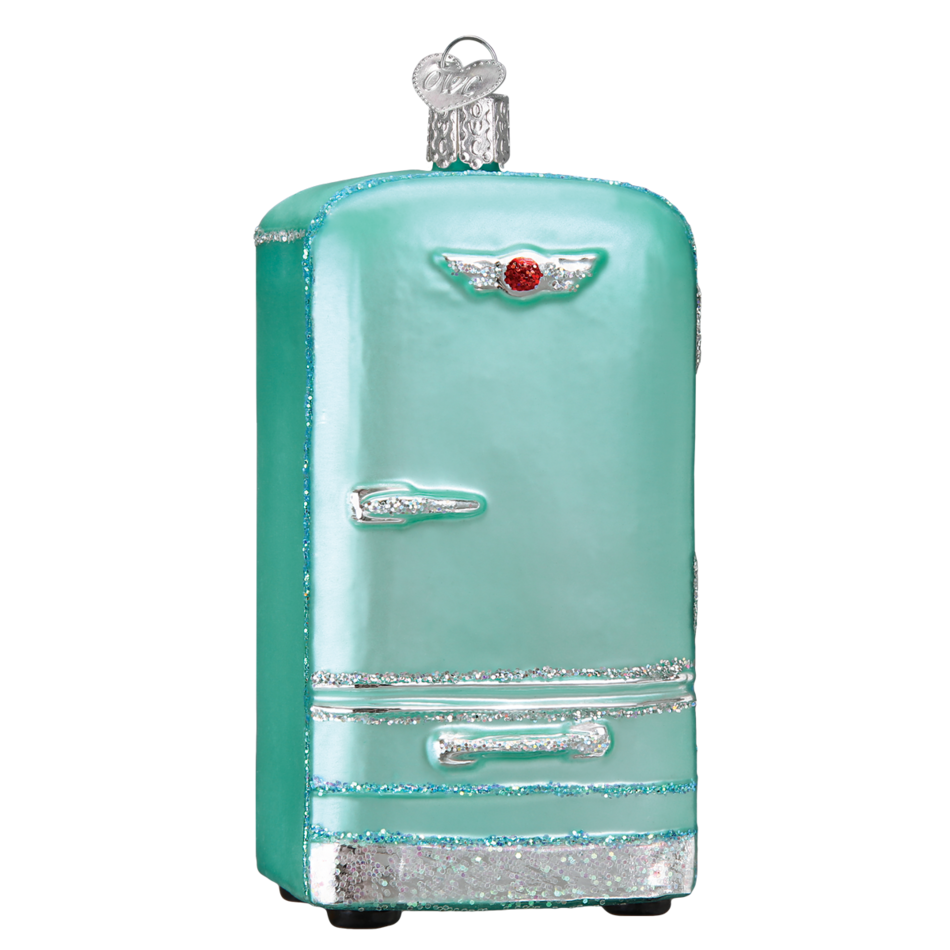 Transparent fridge retro. Old world christmas ornament