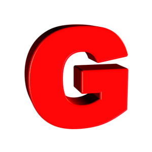 Transparent g red letter. Words starting with the
