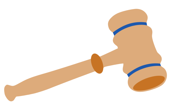Transparent gavel crossed. Collection of free hammering