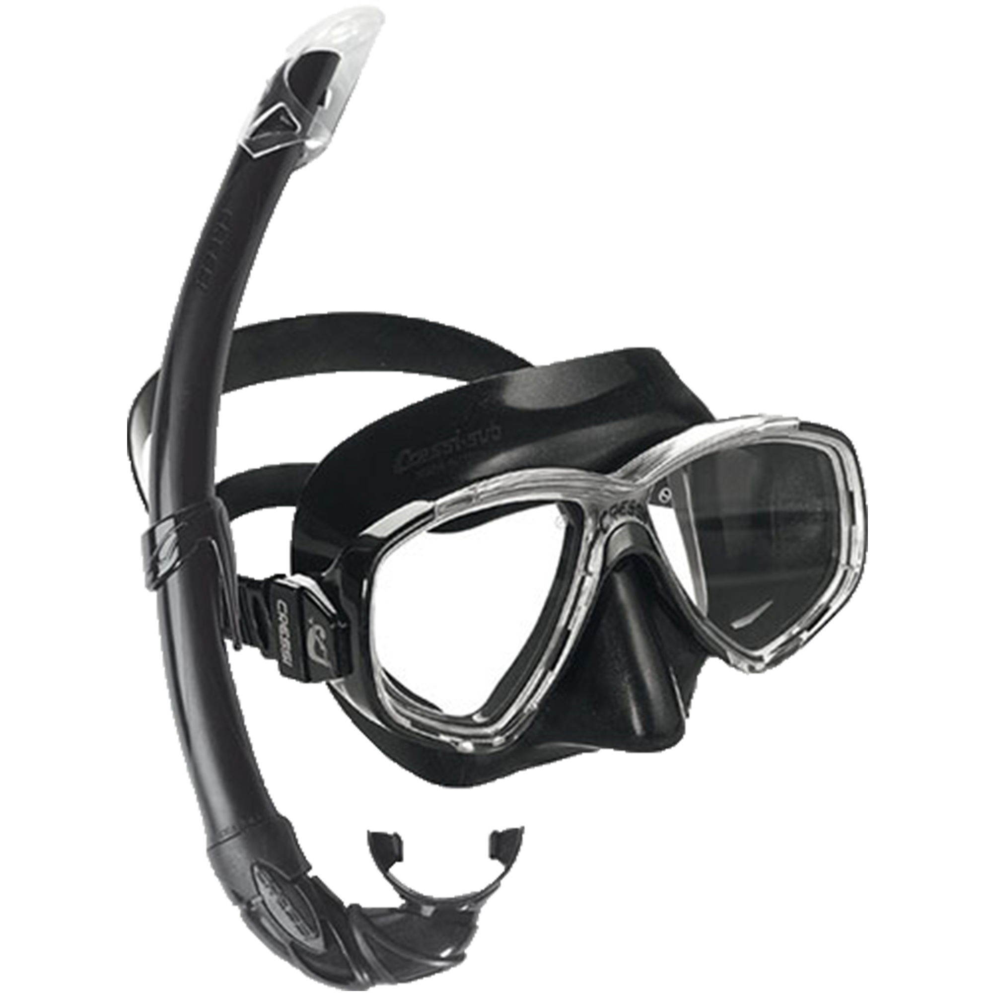 Transparent gear snorkeling. Cressi perla mask and