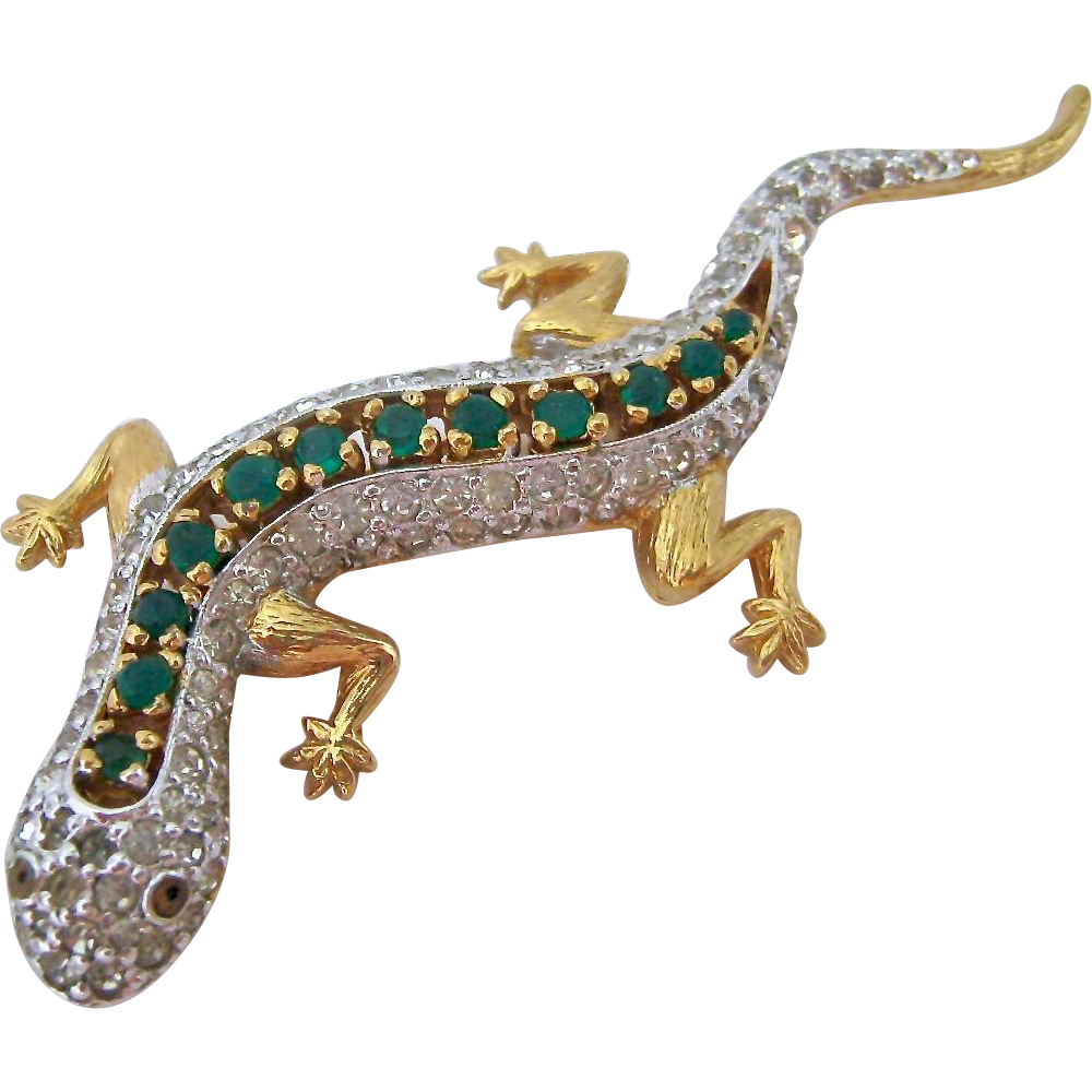 Transparent gecko amazing. Panetta sparkly pin brooch