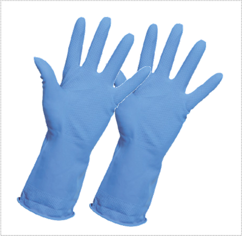 Transparent gloves cleaning. Blue household per pack