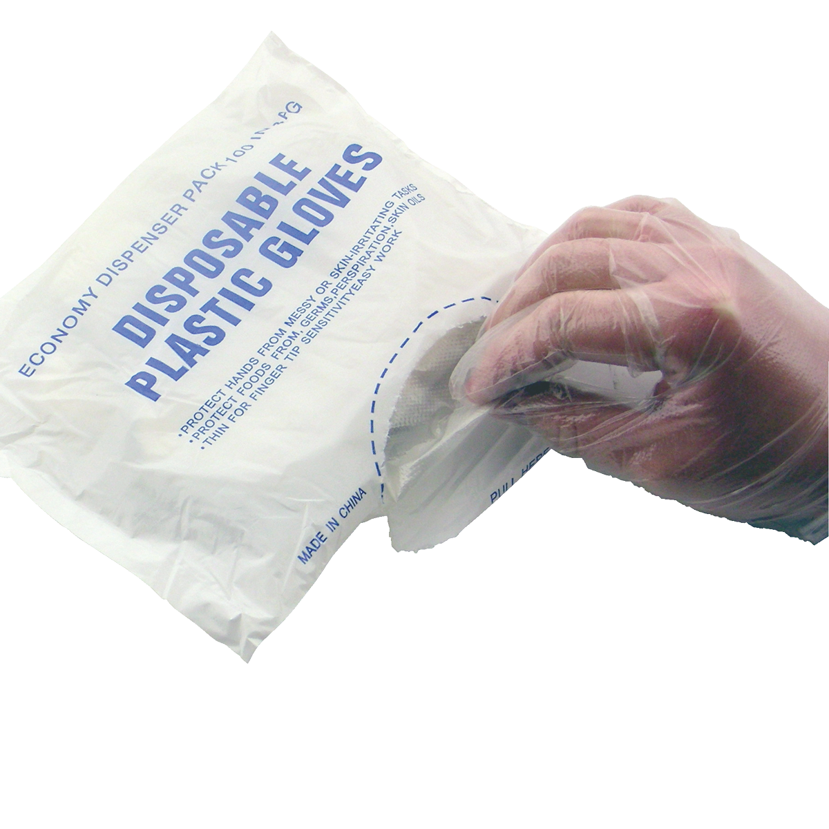 Transparent gloves food handling. Dg poly handlers disposables