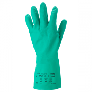 Transparent gloves food handling. Hand protection industry arcade