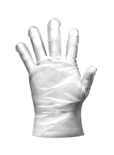 Transparent gloves poly disposable. Restroom products prudential overall