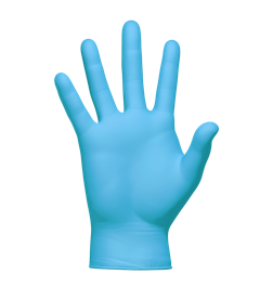 Transparent gloves poly disposable. Blue nitrile restroom products